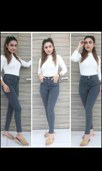 SIMARAA FAB   Simarra Fab Grey denim fit High rise jeans