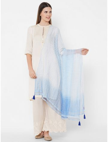 Get Wrapped | Get Wrapped Textured Shaded Blue Dupatta with Tassels