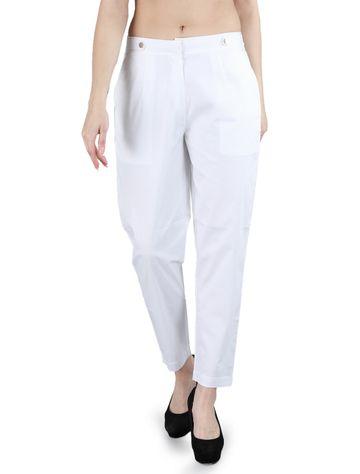 DEVS AND DIVAS | DEVS AND DIVAS White Casual Paradise Pants Trouser for Women