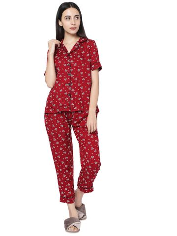 Smarty Pants | Smarty Pants women's maroon cotton floral print night suit