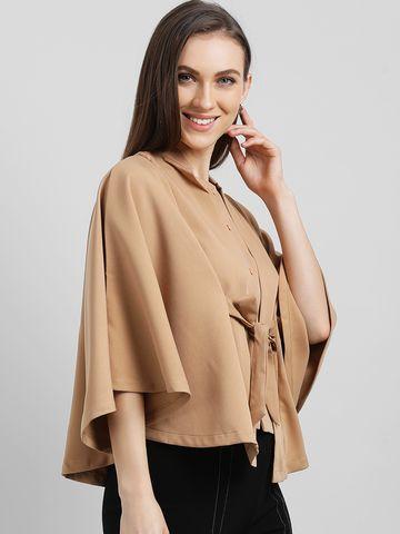 Zink London | Zink London Women's Khaki Solid Cape Jacket