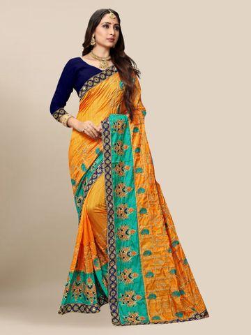 SATIMA | Women's Embroidered Mustard Silk Blend Pochampally Leheriya Saree