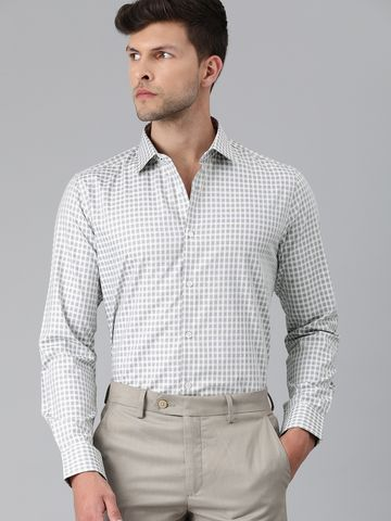 The Bear House | Men Grey & White Slim Fit Checked Giza Cotton Formal Shirt
