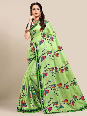 SATIMA | Latest Green Colour Embroidered Cotton Blend Saree