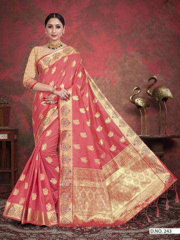 POONAM TEXTILE | TRADITIONAL BANARASI PEACH ART SILK WOVEN ZARI FESTIVE SAREE