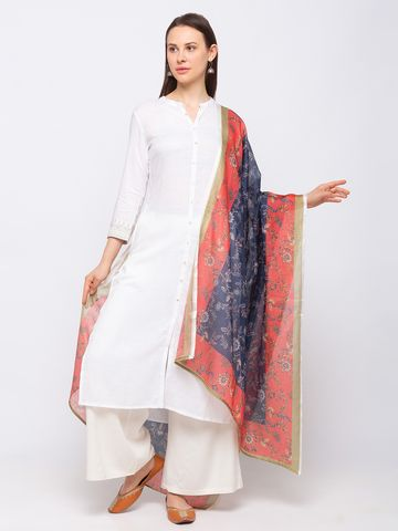 Ethnicity | Ethnicity Cotton Blend Straight  Women Navy Dupatta