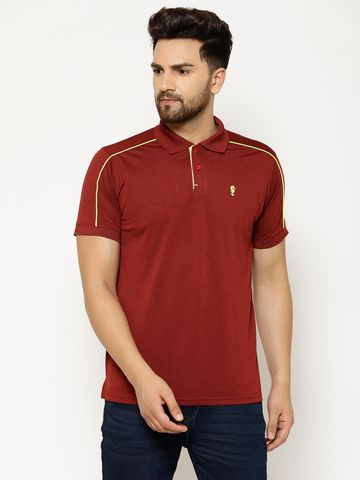 Eppe | EPPE Men's Polo Neck Maroon Super Soft Micro Polyester Half Sleeves Sports Casual T-Shirt