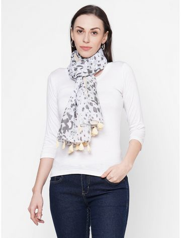Get Wrapped | Get Wrapped Multi Polyester Printed Scarf with Tasselled Border