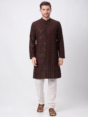 Ethnicity   Ethnicity Brown Polyester Cotton Kp Set