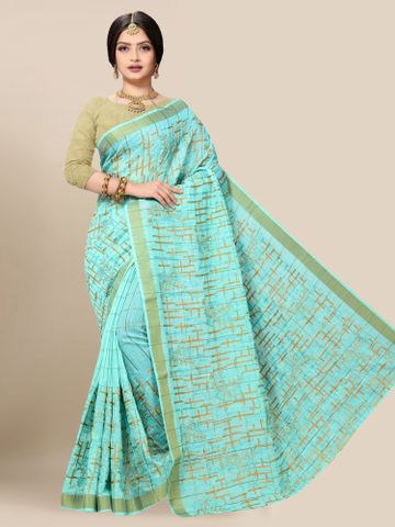 SATIMA | Latest Blue Embroidered Solid Cotton Blend Saree