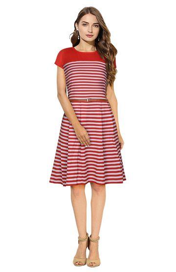 POONAM TEXTILE | Women Red Striped Formal Dress