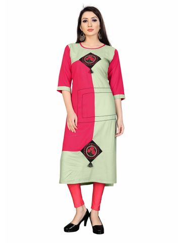 SATIMA | Pink and Green Colored Casual Printed Rayon Kurti