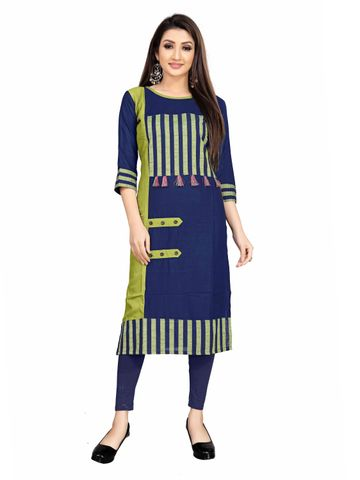 SATIMA | Blue Colored Casual Printed Rayon Kurti