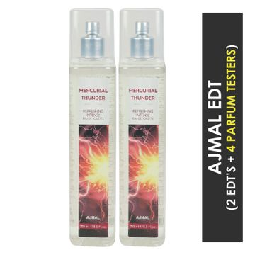 Ajmal | Ajmal Mercurial Thunder EDT  pack of 2 each 250ml (Total 500ML) for Unisex + 4 Parfum Testers
