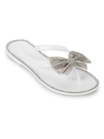 Truffle Collection | White PVC Diamante Bow Slip On Flats