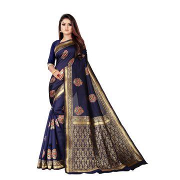 POONAM TEXTILE   Banarasi Jacquard Silk Blend Blue Woven Zari Saree