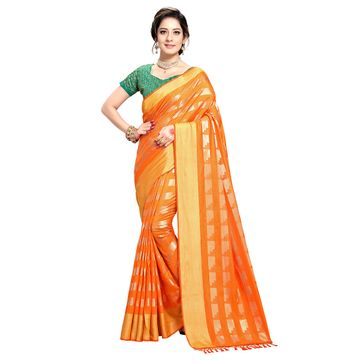 SATIMA | WOMEN'S ORANGE SELF DESIGN PRINTED GEORGETTE SAREE