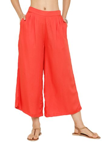 De Moza | De Moza Ladies Crop Palazzo Woven Bottom Solid Rayon Rust Orange