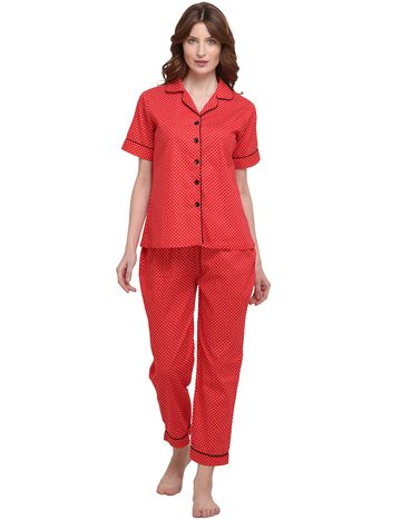 Smarty Pants | Cotton red polka dot print night suit