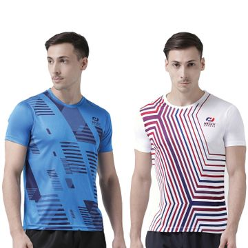 Masch Sports | Masch Sports Men India Blue-White Printed Regular Fit Round Neck Soft Polyester Sports T-Shirt Combo - Active Wear, Sports Wear & Gym Wear T-Shirt for Men-Large