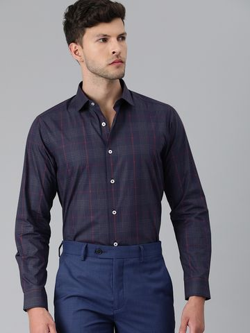 The Bear House | Men Navy Blue & Red Slim Fit Checked Formal Shirt