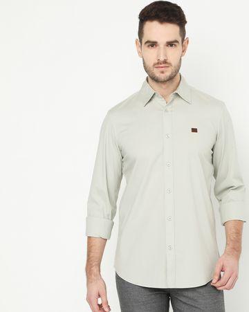 GAS | Men's Andrew Grey Solid Poplin Shirt