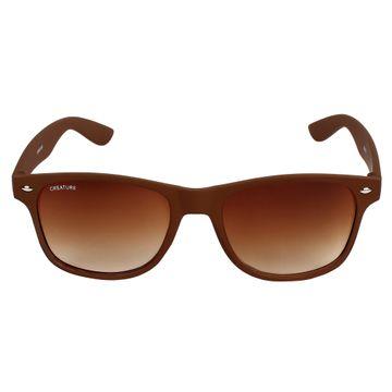 CREATURE | CREATURE Brown Matte Finish Wayfarer UV Protected Unisex Sunglasses (Lens-Brown|Frame-Brown)