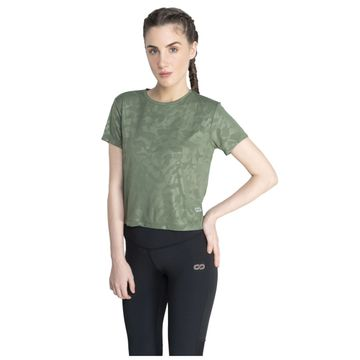 SilverTraq | Embossed Camo Short Sleeve Grape Green