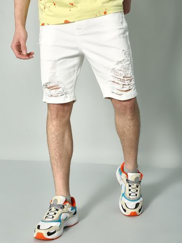 Blue Saint | Blue Saint Men's White Regular  Shorts