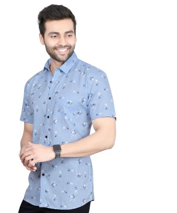 5th Anfold | Fifth Anfold linen Blue Floral Printed Half Sleev Spread Collar Mens Casual Shirt