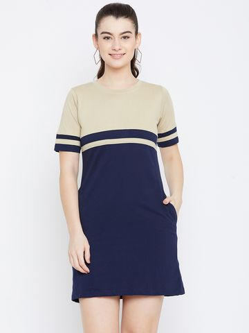 Jhankhi | Blue and Beige Colourblocked Shift Dress