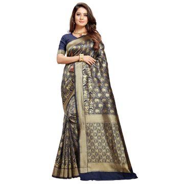 POONAM TEXTILE   Banarasi Navy Blue Jacquard Silk Woven Zari Saree