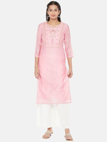 Ethnicity | Chanderi Silk Straight Women Pink Kurta
