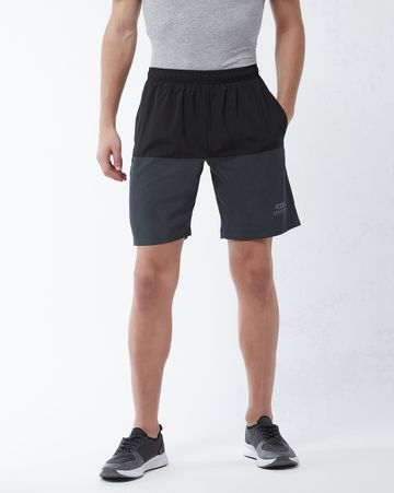 Masch Sports | Masch Sports Men's Gym Shorts Regular Fit Polyester (MSSH-0618-CS-2HLF-BG_S_Black and Grey_S)