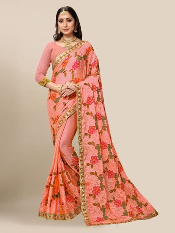SATIMA | Women Embroidered Gajari Chiffon Half N Half Saree