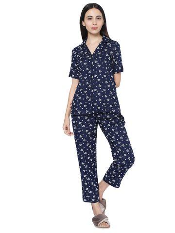 Smarty Pants   Smarty Pants women's navy blue cotton floral print night suit