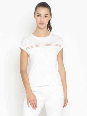 METTLE   Women WHITE MELANGE T-Shirts