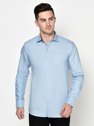 METTLE | Men SKY BLUE Casual Shirts