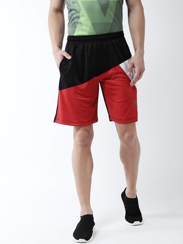 Masch Sports | Masch Sports Men's Gym Shorts Regular Fit Polyester (MSSH-0619-CS-3STRICLR-BLKRW_S_Black, Red, White_S)