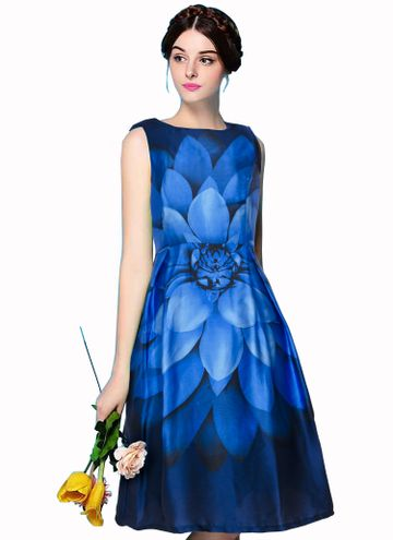 POONAM TEXTILE | Blue Floral Party Wear Dress