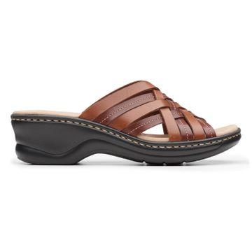 Clarks | Lexi Selina Mahogany Leather Wedge Sandal