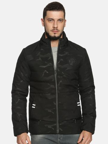 Showoff | Men Black Camouflage Sporty Jacket with Detachable Hood