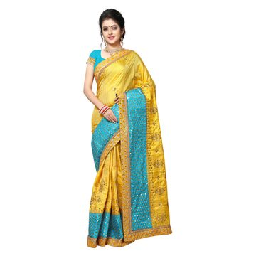 SATIMA | DESIGNER YELLOW COLOR EMBROIDERED SILK BLEND SAREE