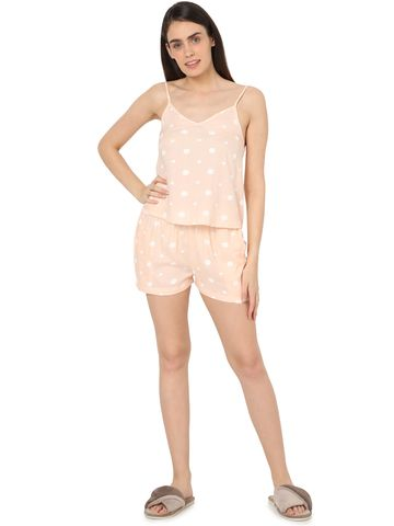 Smarty Pants | Smarty Pants women's cotton pastel pink color heart & polka dot print night suit