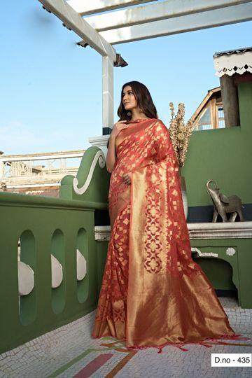 POONAM TEXTILE | Fashion Banaras Peach Organza Silk Hand Dyed Zari Festive Saree
