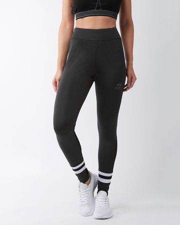 Masch Sports   Masch Sports Women's Grey Solid Sports Tights with Double White Ankle Stripes and Black Back Panel