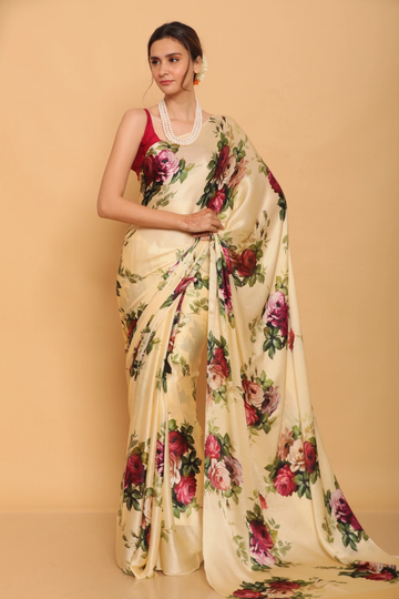 SATIMA | Satima Woman 's peach color Satin Silk printed saree