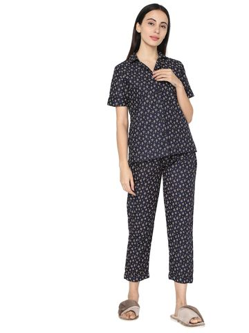 Smarty Pants | Dark blue cotton floral print night suit pair