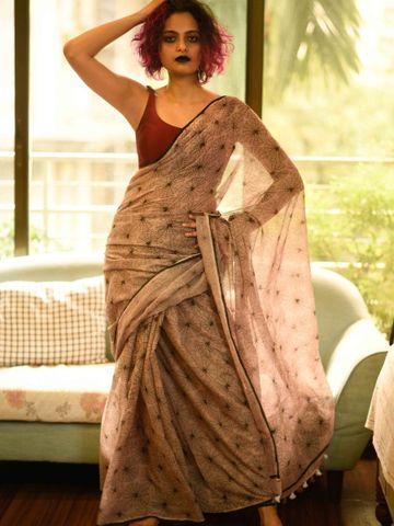 SATIMA | Beige Linen Printed Saree