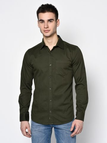 METTLE | Men OLIVE Casual Shirts